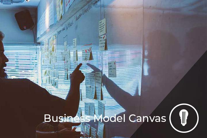 due persone durante la compilazione del business model canvas